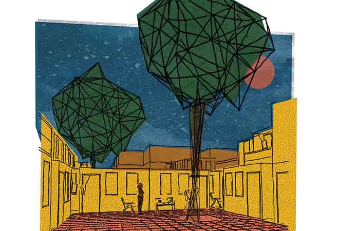 Drawing of a courtyard with large green trees.