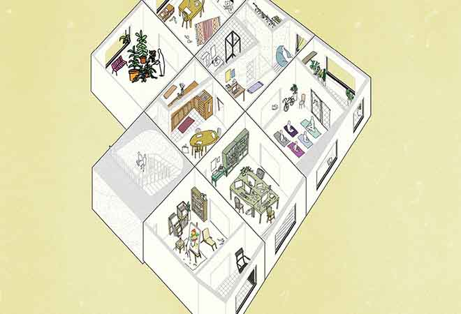 Overhead illustration of a building floor showing interiors of seven rooms of varied use and a stairwell.