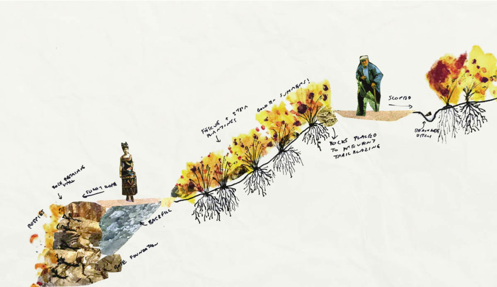 Yoni Angelo Carnice, MLA I. A collage of plantings and substrates for a section of a trail.