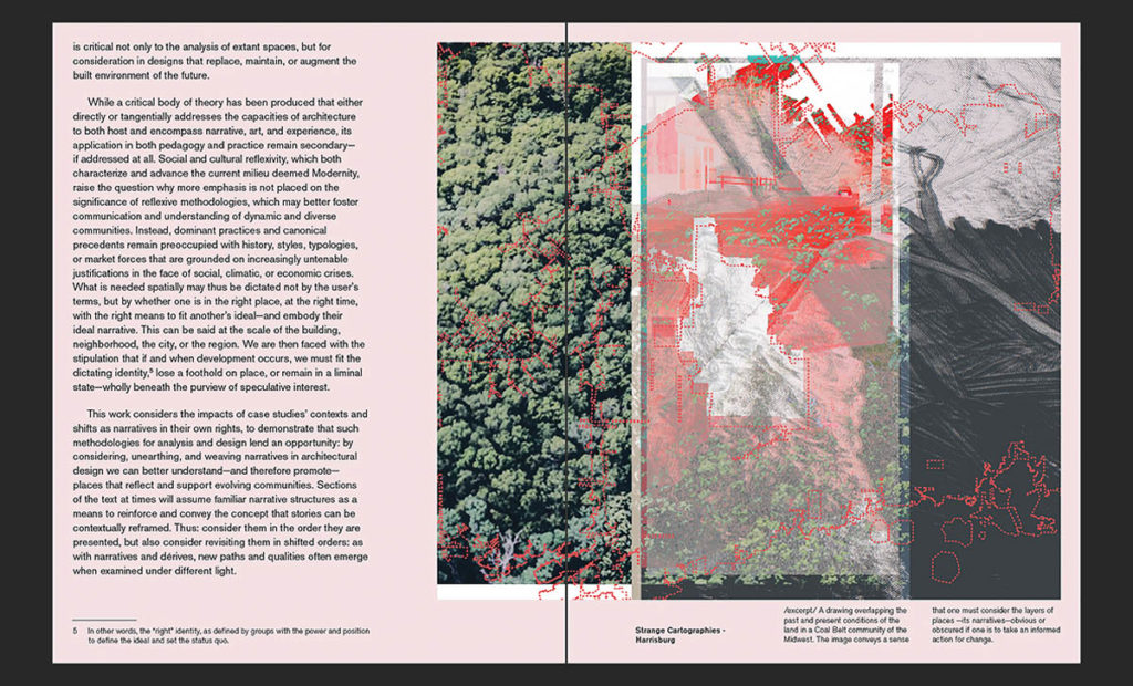 Linda Just, MDes. Spread of a cartographic collage of overlapped, historical landscape conditions in the Southern Illinois Coal Belt community, with adjacent research text.