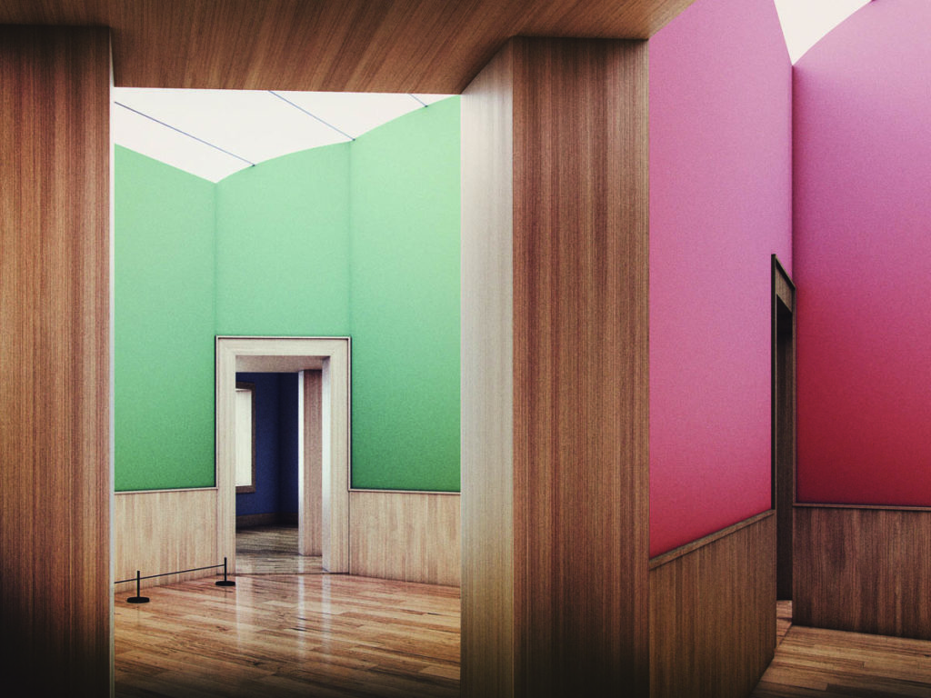 Henrik Ilvesmäki, MArch II. Interior space showing three connected rooms, each with different brightly colored walls, and wooden floors, side panels, and door frames.