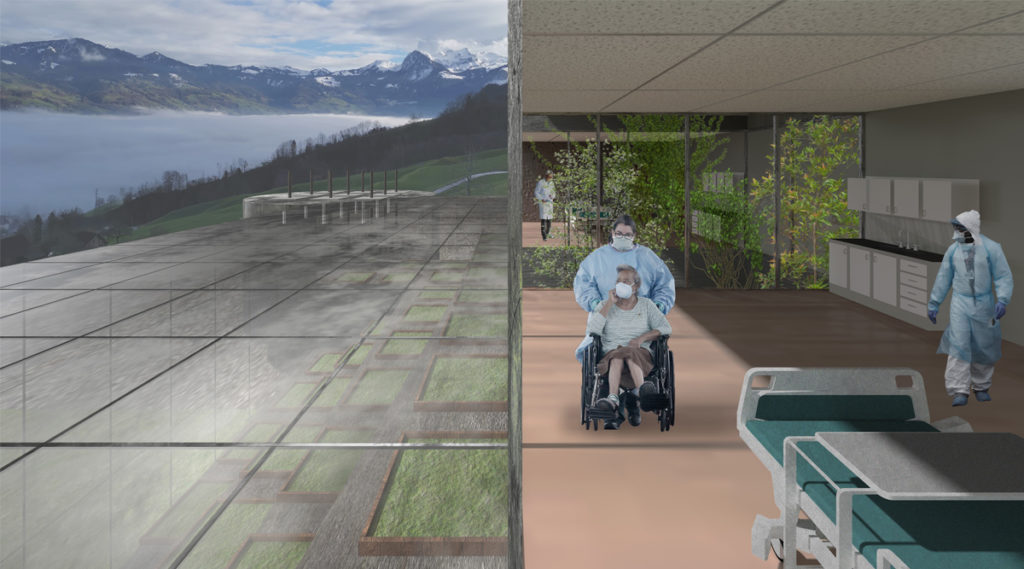Jessica Yuan, MArch I.  Woman in a wheelchair looks out from the patient room to the new horizon of the glass grid of the greenhouse roof below. A vertical column of planting veils one patient room from another further back.