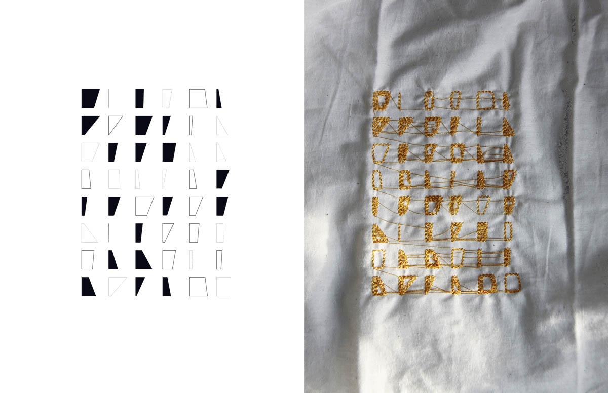 Delara Rahim, Mdes. Process of embroidery – translation of coded geometry to woven surface.