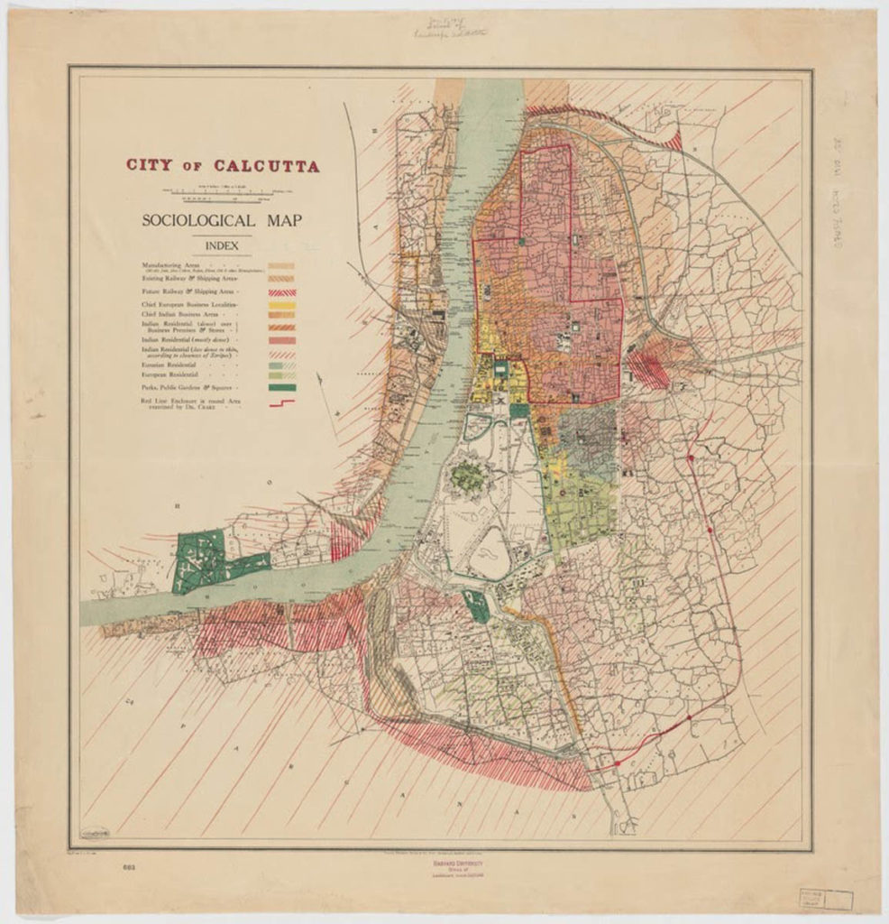 Alexandra Sanyal, MDes. A map of the City of Calcutta from 1910 which shows the spatial separation across the city along the lines of race and class status.