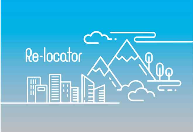 Re-locator. Image: A white line illustration of a city next to mountains and trees with clouds on a blue sky background and pale grey foreground.