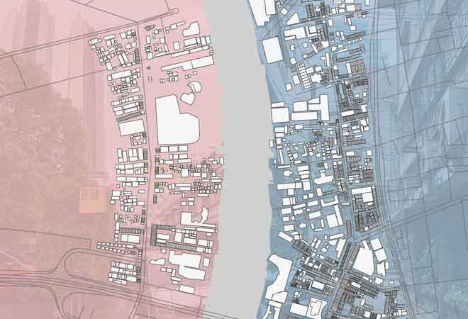 Overhead view of site plan illustration of a town divided by a river, one side is tinted red, the opposite is tinted blue